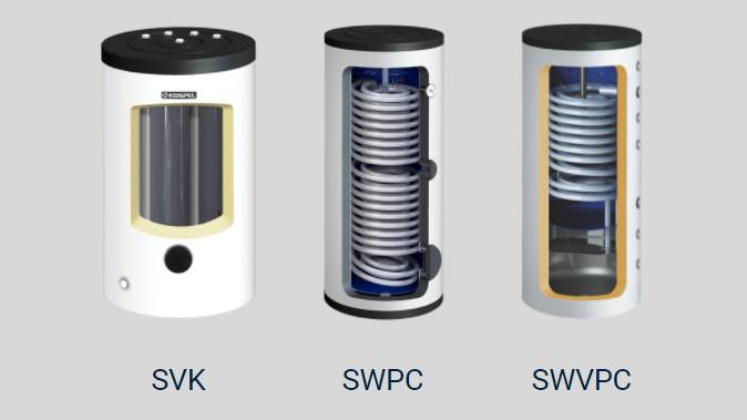 Bufor ciepła SVK, wymiennik z wężownicą SWPC oraz zbiornik kombinowany SWVPC
