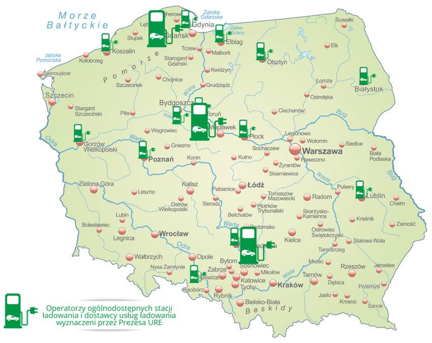 Miasta, w których działają operatorzy ogólnodostępnych stacji ładowania i dostawcy usług ładowania