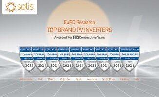 """Solis wyróżniony w skali globalnej – otrzymuje znak """"Top PV Brand 2021"""""""